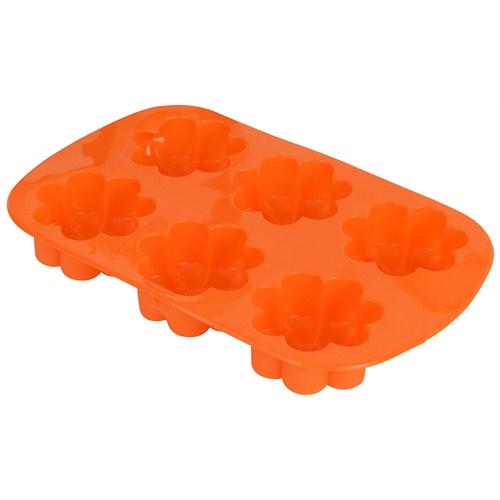 T-Design Silikon 6´Lı Çiçek Muffın Oranj Sm02m003