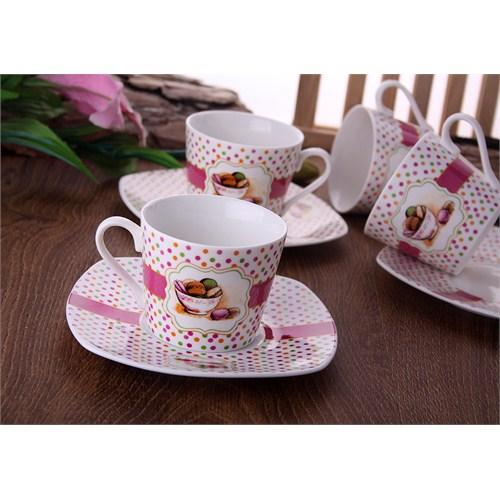 Gönül Porselen Makaron Desen Çay Fincan Seti G822