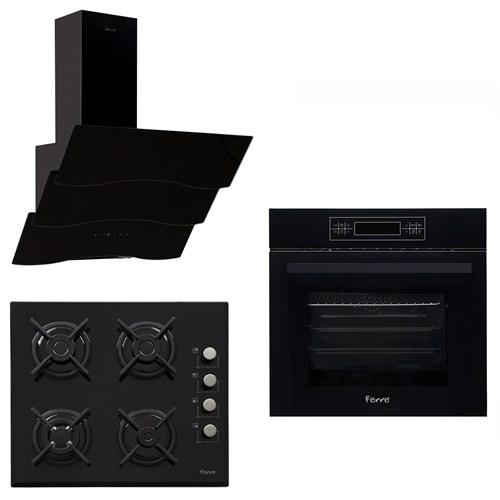 Ferre Black Touch Plus 3'Lü Ankastre Set ( BE 11 LDG Fırın + 1140 WB Woklu Ocak + SPR 600 Davlumbaz)