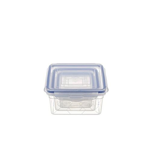 Modelüks Sızdırmaz Kare Saklama Kabı Set 1 -0,34Lt, 0,65Lt, 1,2Lt