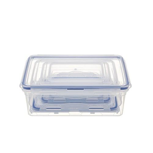Modelüks Sızdırmaz Dikdörtgen Saklama Kabı Set 1 -0,5Lt, 0,85Lt, 1,8Lt, 3Lt