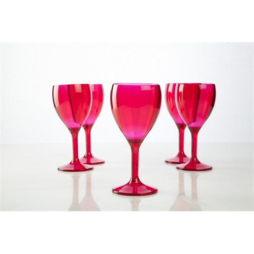 Plabar Kırılmaz Şarap Bardağı (Pembe) 12Li