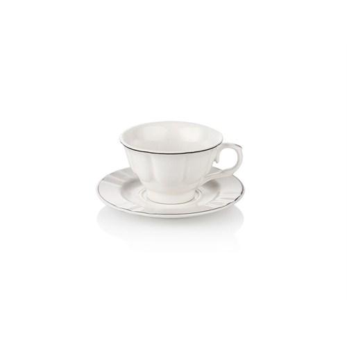 Noble Life Platin Rolyef Kahve Fincan Seti 6 Kişilik - 15892