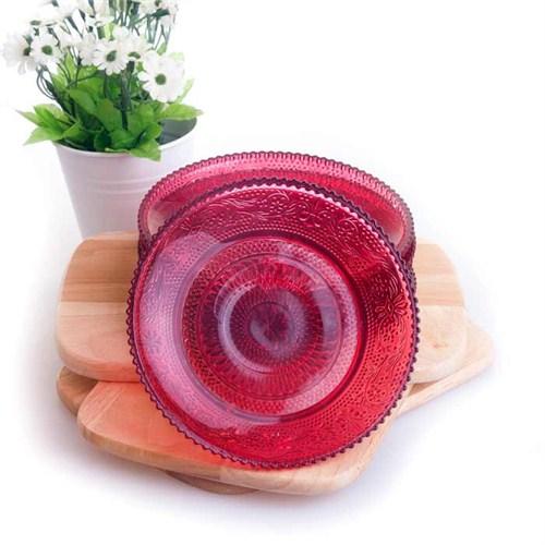 Joy Glass 6 Lı Cam Pasta Tabağı Kırmızı