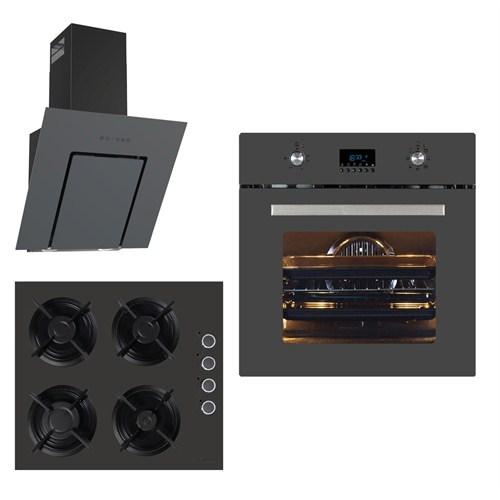 Termikel Antrasit 3'lü Ankastre Set (BO 6000-AN Fırın + 17152 AN604D Ankastre Ocak + LUMEX 6035/60 Davlumbaz)