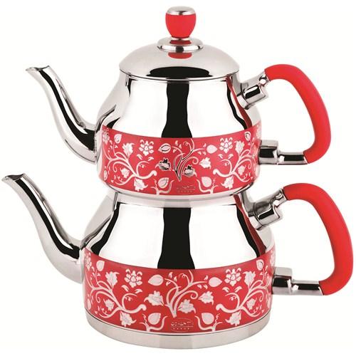 Özkent K-331 Symbol Mini Desenli Çaydanlık Kırmızı