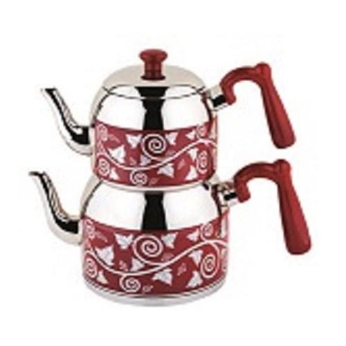 Özkent K-371 Menekşe Desenli Mini Çaydanlık Kırmızı