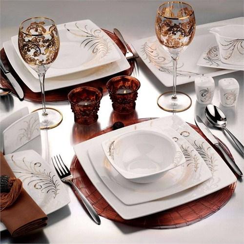 Kütahya Porselen Aliza Bone 12 Kişilik 83 Parça 25105 Desenli Yemek Takımı