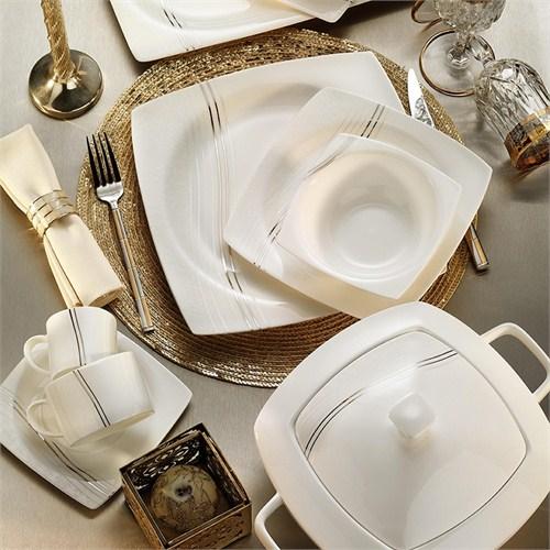 Kütahya Porselen Aliza Bone 12 Kişilik 83 Parça 60100 Desenli Yemek Takımı