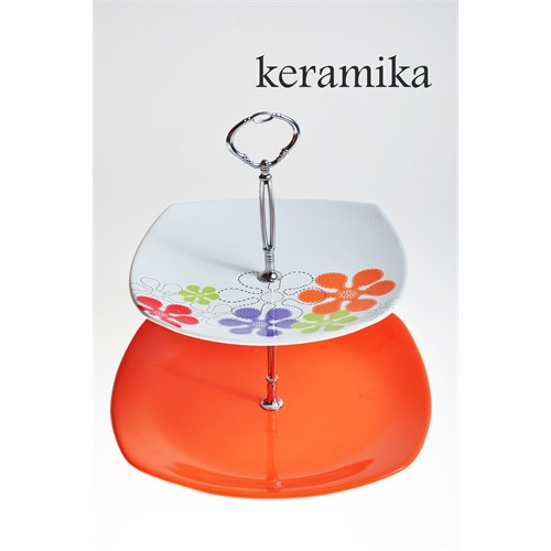 Keramika Set Meyvelik Köşem 2 Katlı Beyaz 004-Turuncu 200 Renkli Trend