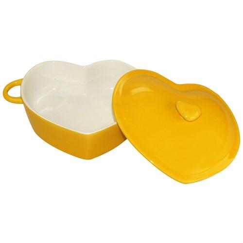iHouse 14514 Stonware Kalp 22Cm Kpk. Fırın Kabı Sarı