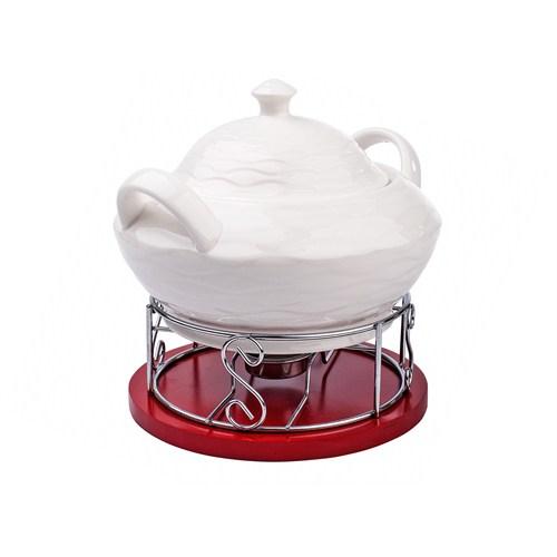 iHouse 5673 Seramik Çorba Tenceresi Beyaz