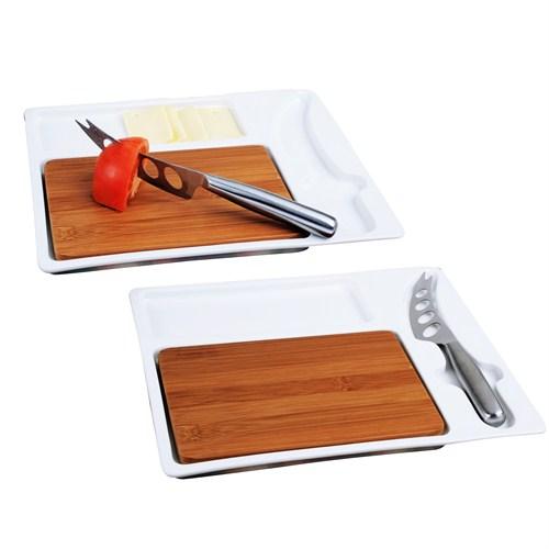 iHouse 5781 Kesme Tahtalı Kahvaltı Tabağı Beyaz