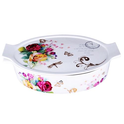 iHouse 33204-Kapaklı Porselen Fırın Kabı 35X23x8-Beyaz