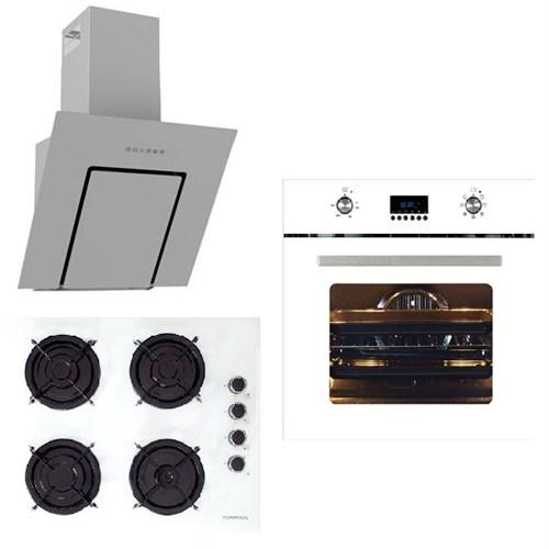 Termikel White Line Plus 3'Lü Ankastre Set (BO 6000 - W Beyaz Ankastre Fırın + 17152 W604L Emaye Izgaralı Ankastre Ocak + Lumex 6040 60 Cm Beyaz Davlumbaz)