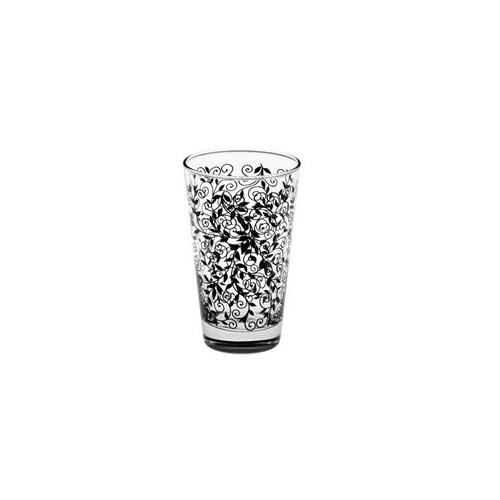 Joy Glass 6'Lı İzmir Meşrubat Bardağı Siyah Desenli