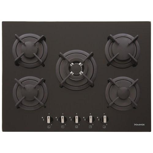 Dominox DHG 5 4 GAV-TC BK F C 5 Gözü Gazlı Siyah Ankastre Cam Ocak