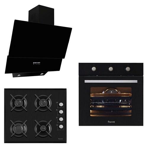 Ferre Black Uehara Plus 3'Lü Ankastre Set ( SBEF-LM-T Turbo Fırın + 1140 Döküm Izgara Cam Ocak + SFME 600 Siyah Camlı Davlumbaz)