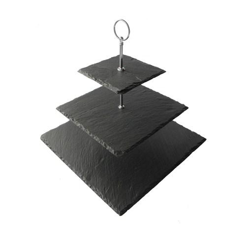 Mat For Home Kayrak Kare 3'Lü Kek Standı - Naturel Kenar