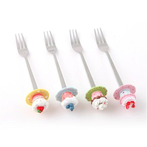 """Polirezen Saplı Tatlı Çatalı, """"Cupcake"""", 4'lü Set"""