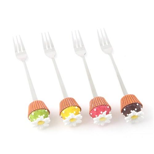 """Polirezen Saplı Tatlı Çatalı, """"Papatyalı Cupcake'Ler"""", 4'lü Set"""