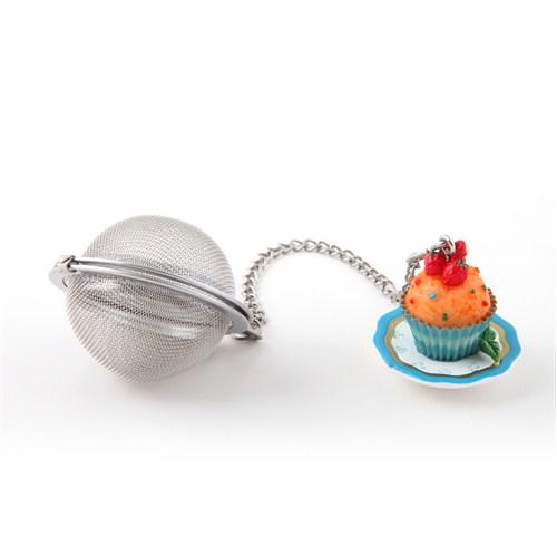 Çay Süzgeci, Polirezen Dekorlu Turuncu Cup Cake