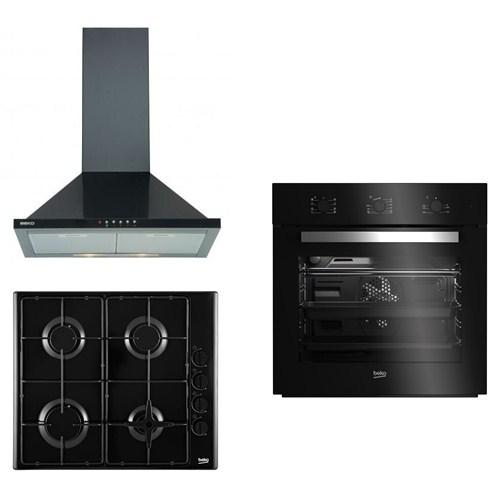 Beko Black Eco 3'lü Ankastre Set (AFM 21100 S Fırın+HIZG 64120 SB Ankastre Ocak + ADV 5160 S Davlumbaz)