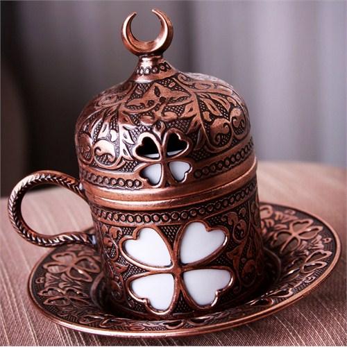 Sena Yonca Kahve Fincanı Hilalli Antik Bakır