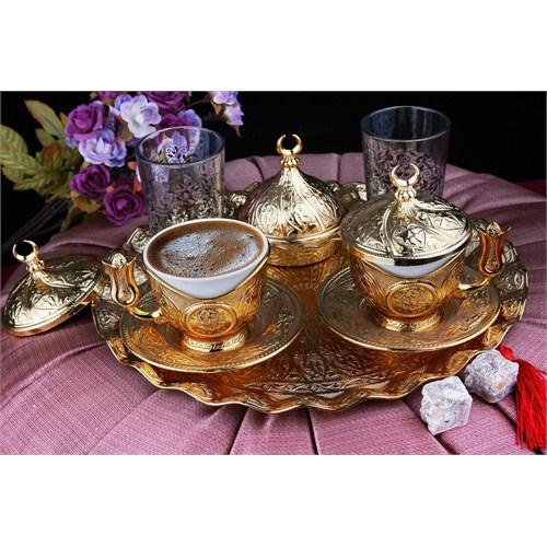 Sena Sultan Tiryaki 2'Li Kahve Seti Hilalli Altın Sarı