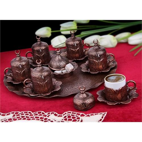 Sena Lalezar 6'Lı Kahve Fincanı Hilalli Antik Bakır