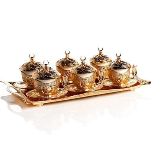 Sena Kare Tiryaki 6'Lı Kahve Fincanı Tepsili Hilalli Altın Sarı