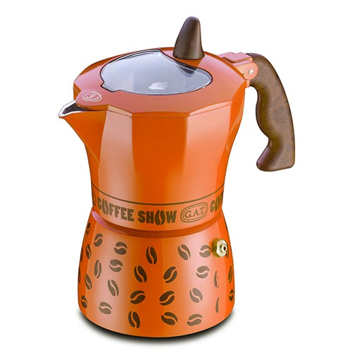 Gat Coffee Show Moka Makinası 6 Kişilik Turuncu