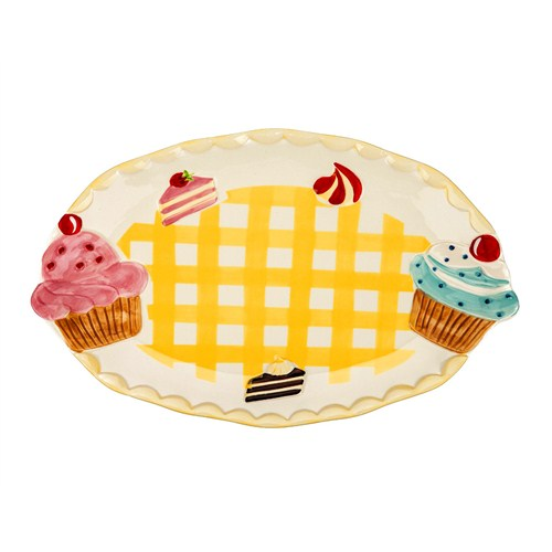 Tantitoni Cupcake Desenli Seramik Servis Tabağı