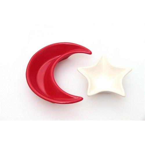 Keramika Set Ay-Yıldız Kırmızı Kutulu 2 Parça Beyaz004-Kırmızı 506