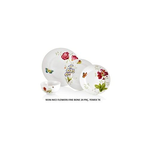 Neva N596 24 Parça Fine Bone Nice Flowers Yemek Takımı