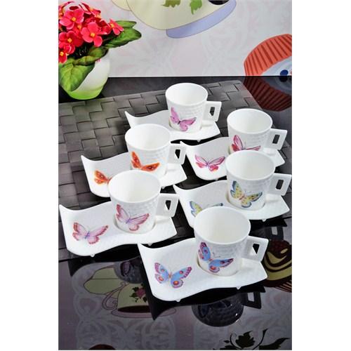 Royal Windsor Kelebek Desen Petekli 6'Li Renkli Fincan Takımı