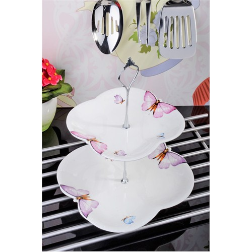 Royal Windsor Kelebek Motifli Lüx Porselen Katli Servis Tabağı