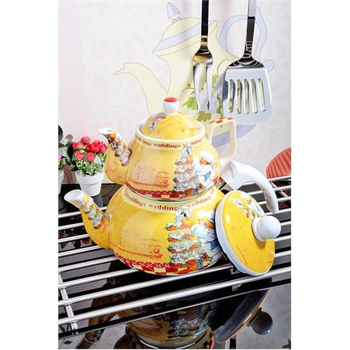 Royal Windsor Aşçi Desen Emaye Üzeri Porselen Çaydanlik Seti