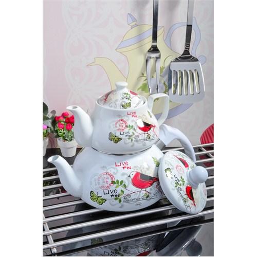 Royal Windsor Bird Serisi Emaye Üzeri Porselen Çaydanlik Seti