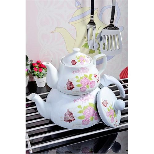Royal Windsor Rose Serisi Emaye Üzeri Porselen Çaydanlik Seti