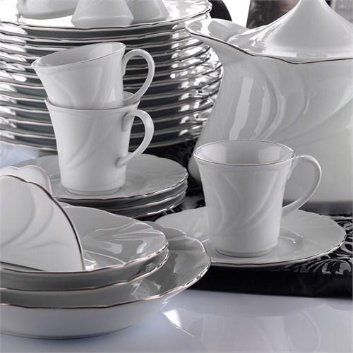Kütahya Porselen Troya Platin File 12 Parça Çay Takımı
