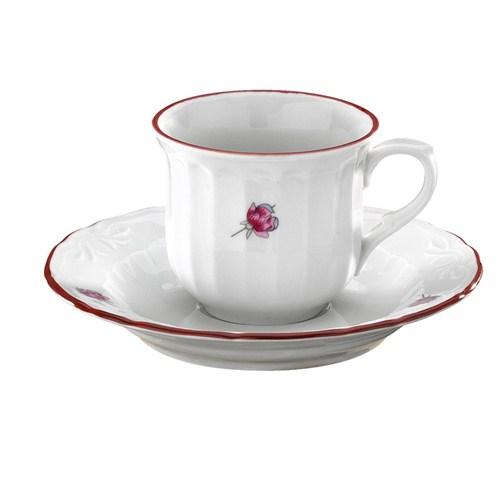 Kütahya Porselen Mina Pembe 6 Kişilik Kahve Takımı