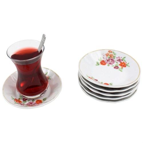 Gerok Yaz Çümbüşü 6 Adet Porselen Çay Tabağı