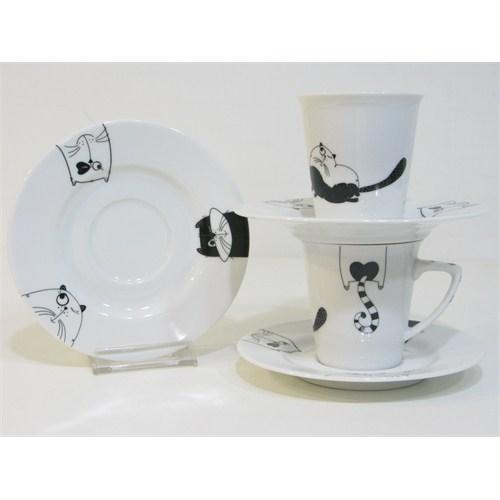Happy Cats Konik Kahve Fincanı 6Lı