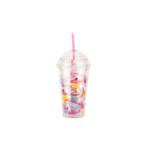 Tantitoni Plastik Cupcake Desenli Spiral Pipetli Su Şişesi