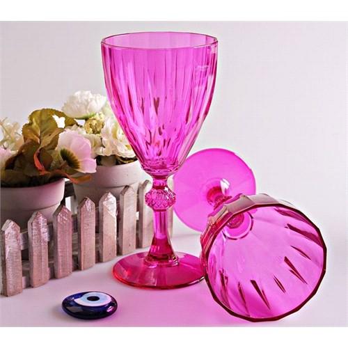 Mos'Ev Dıamond Pembe 6'lı Ayaklı Şarap Bardağı