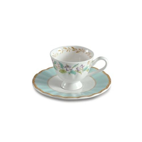 Dearybox Elegance Çiçekli Yapraklı Bone China Türk Kahve Fincan Takımı