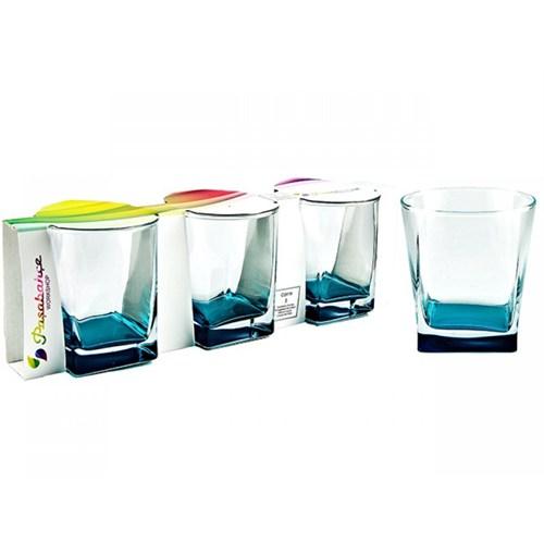 Paşabahçe 6 Lı Mavi Carre Bardak Su - Meşrubat Bardağı