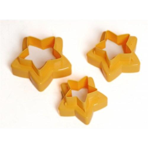 Atadan 2 Taraflı 3 Lü Yıldızlı Plastik Bisküvi Kalıbı-Turuncu-Pd3304