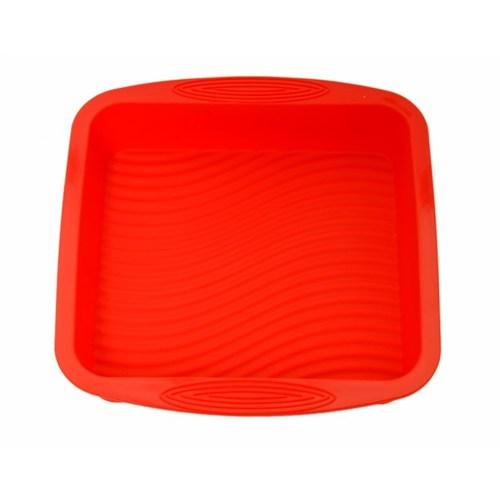 Atadan Kare Büyük Silikon Kek Kalıbı-Kırmızı